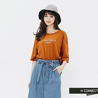 H:CONNECT 韓國品牌 女裝-相片圖印標語T-shirt-駝色