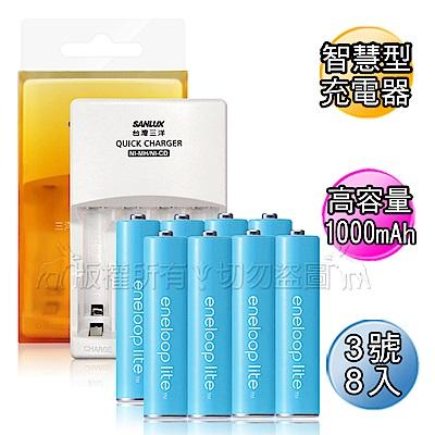 三洋智慧型充電器+國際牌eneloop lite藍鑽輕量 低自放3號充電電池(8顆)