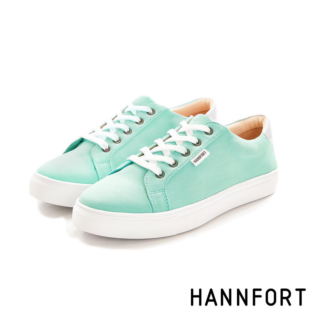 HANNFORT CAMPUS厚底帆布休閒鞋-女-蒂芬妮藍