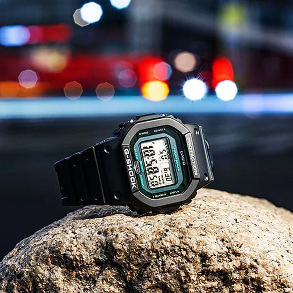 CASIO 卡西歐 G-SHOCK 暗夜時刻 午夜霧黑 藍芽太陽能電波手錶 GW-B5600MG-1
