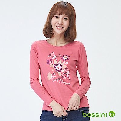 bossini女裝-印花長袖T恤08珊瑚色