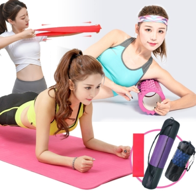 【Incare】美體塑型瑜珈墊+瑜珈滾筒+彈力圈套組