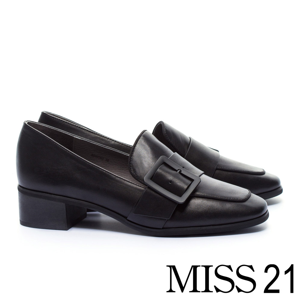 跟鞋 MISS 21 經典不敗復古學院方釦帶全真皮方頭樂福高跟鞋-黑