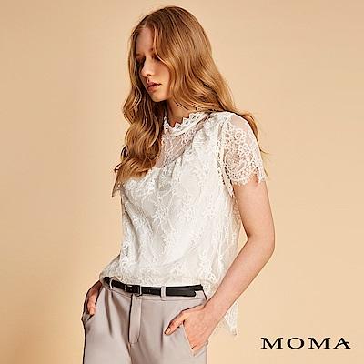 MOMA 透膚高領車骨蕾絲上衣