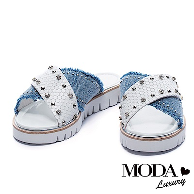 拖鞋 MODA Luxury 異材質金屬鉚釘水鑽飾交叉帶厚底拖鞋-白