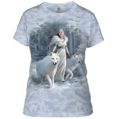 摩達客-美國進口The Mountain 冬狼守護女神 短袖女版T恤