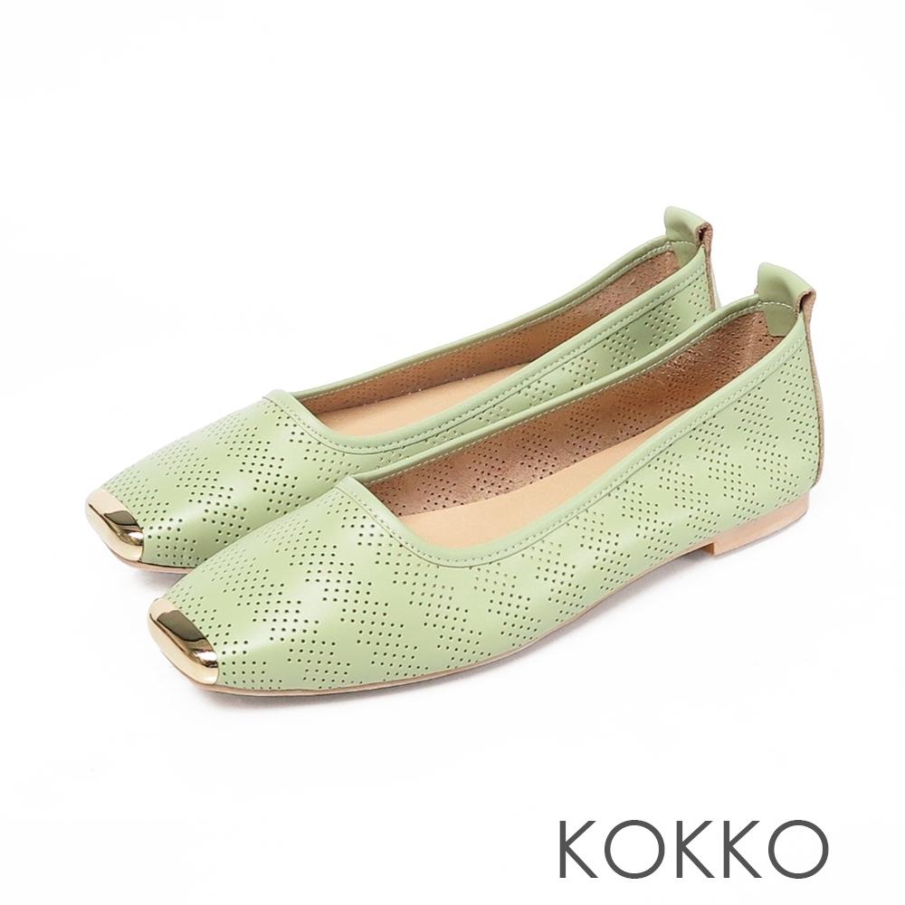 KOKKO 幾何雕花方頭彎折牛皮平底鞋 薄荷綠