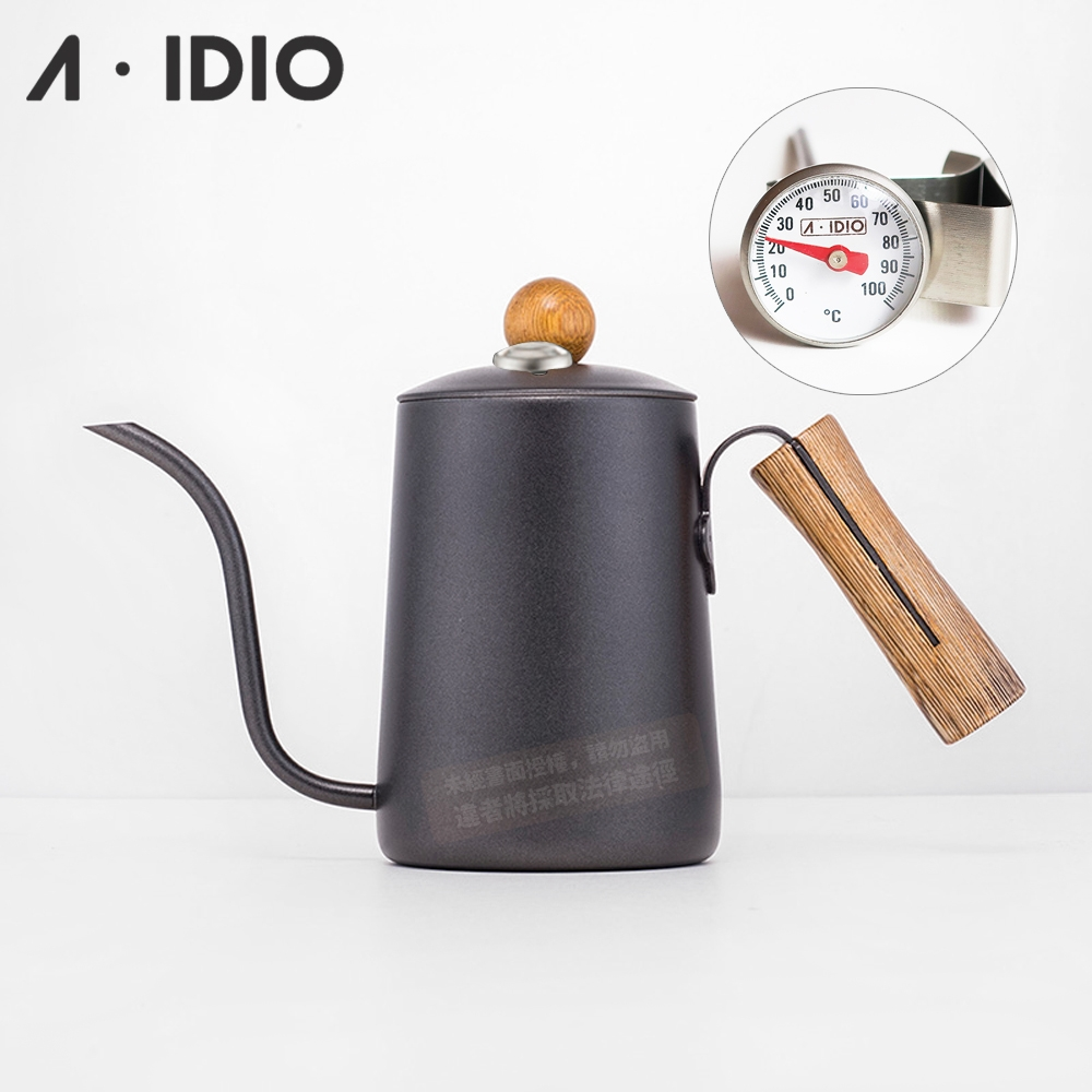 A-IDIO 黑金木手沖細口壺(600ml) 搭專用溫度計
