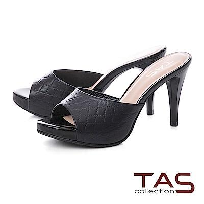 TAS 質感菱格紋羊皮高跟涼拖鞋-百搭黑