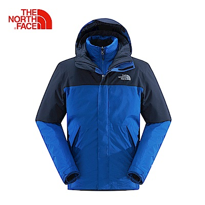 The North Face北面藍色三合一羽絨防水外套
