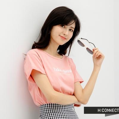H-CONNECT 韓國品牌 女裝-純色圓領英文字樣袖口反摺T恤-粉