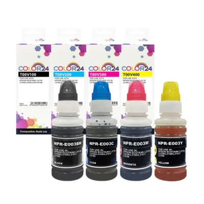 Color24 for Epson 1黑3彩 T00V100~T00V400 相容連供墨水