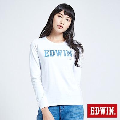 EDWIN 職人手作 牛仔印花LOGO長袖T恤-女-白色