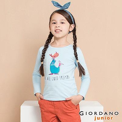 GIORDANO 童裝純棉長袖女孩風印花T恤-63 酷藍