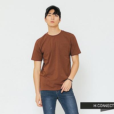 H:CONNECT 韓國品牌 男裝-素面口袋圓領T-shirt-棕