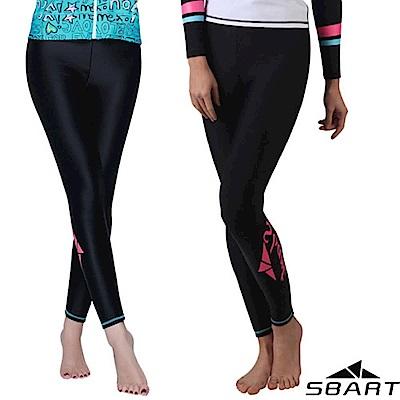 SBARTY 女新款 緊身彈性防曬游泳潛水長褲/水母褲_黑色紅標