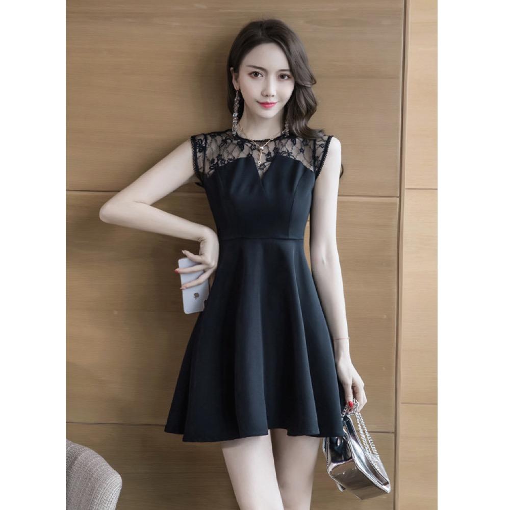 IMStyle 性感無袖網紗連身洋裝(黑色)