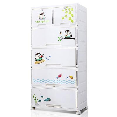 【日居良品】68大面寬森林松鼠五層抽屜收納櫃-附鎖抽屜附輪DIY