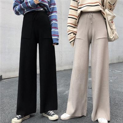 彈性繫帶顯瘦純色針織秋冬質感寬褲F(共二色)-Dorri