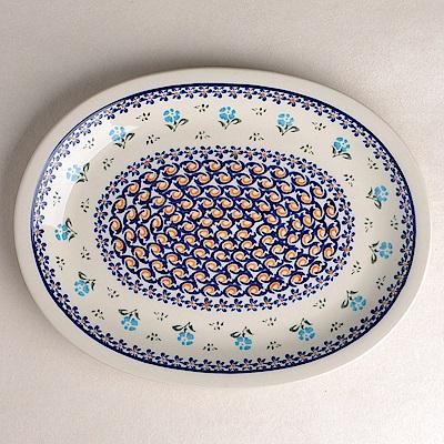 【波蘭陶 Zaklady】 青藍小花系列 橢圓形餐盤 29cm 波蘭手工製