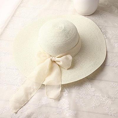 米蘭精品 草帽防曬遮陽帽-飄帶蝴蝶結大帽簷時尚女帽子母親節禮物73rp99