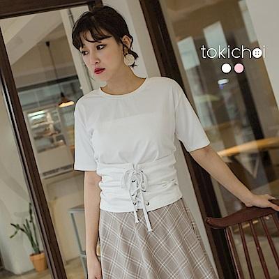 東京著衣 修身美型束腰綁帶上衣-S.M.L(共二色)