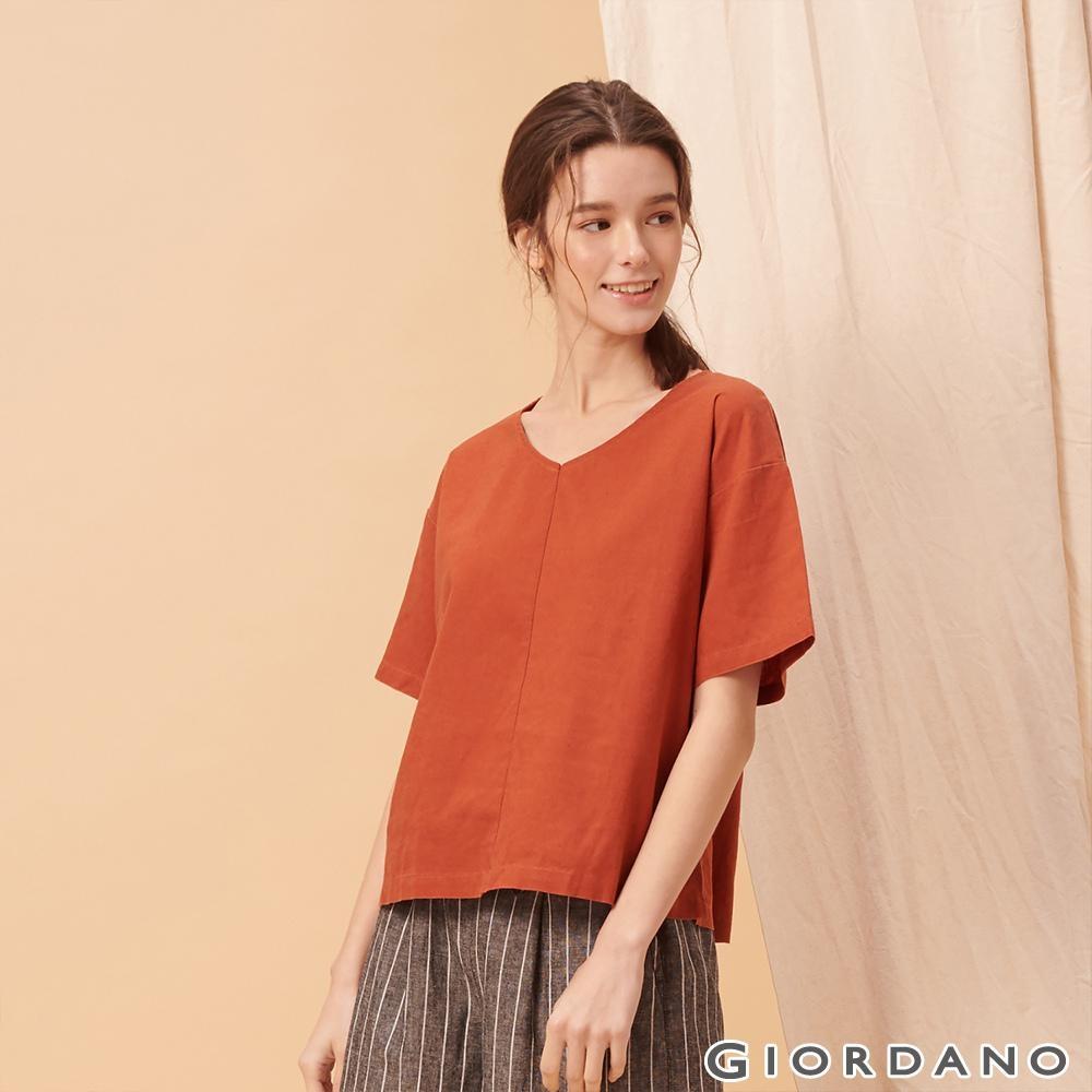 GIORDANO 女裝自然棉麻系列短袖寬版上衣-25 夕陽紅