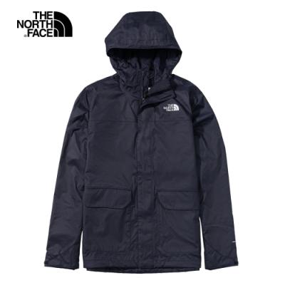 The North Face北面男款深藍色防水透氣連帽衝鋒衣|4NEDRG1