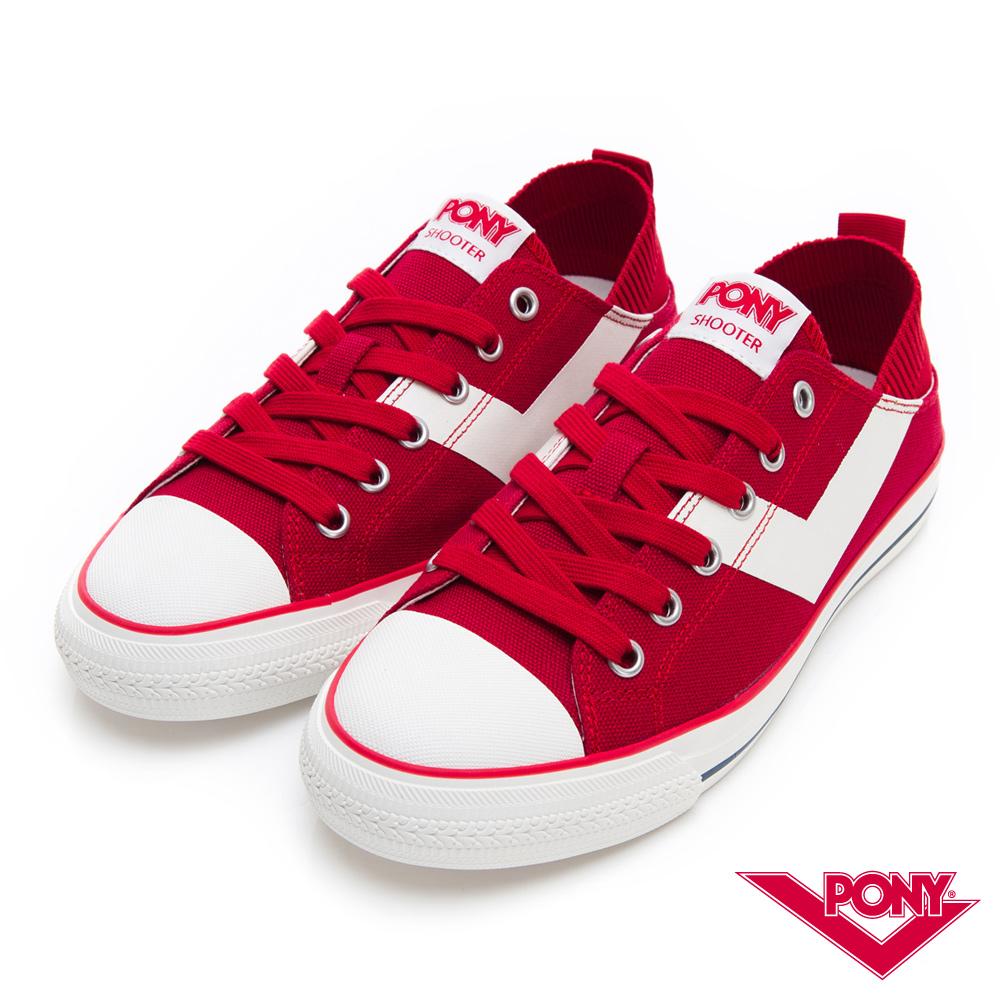 【PONY】Shooter懶人後跟低筒帆布鞋 懶人鞋 小白鞋 滑板鞋-女-紅