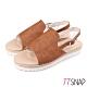 TTSNAP涼鞋-質揉簡約雙層厚底涼鞋 棕 product thumbnail 1