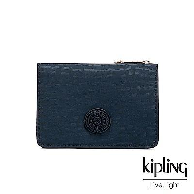 Kipling 文青靛藍紋路實用短夾-ALETHEA
