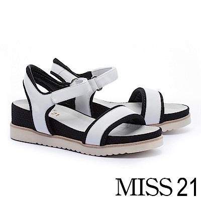 涼鞋 MISS 21 簡約率性一字造型牛皮厚底休閒涼鞋-白