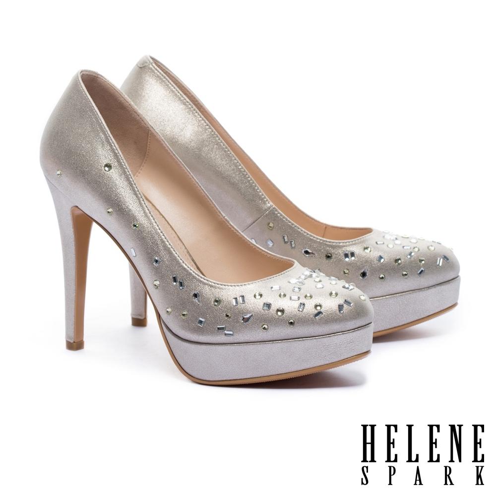 高跟鞋 HELENE SPARK 華麗時尚造型晶鑽羊麂皮美型尖頭高跟鞋-金