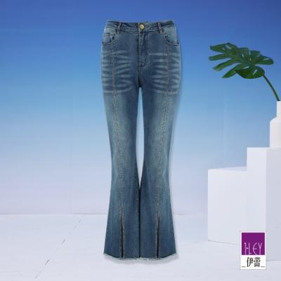 ILEY伊蕾 時尚燙鑽前開衩微喇叭褲(藍)1211018630