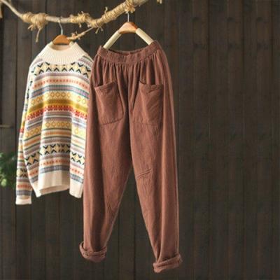 單色夾棉鬆緊腰棉褲寬鬆厚實保暖哈倫長褲-設計所在