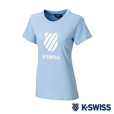 K-SWISS KS CI Logo Tee印花短袖T恤-女-粉藍