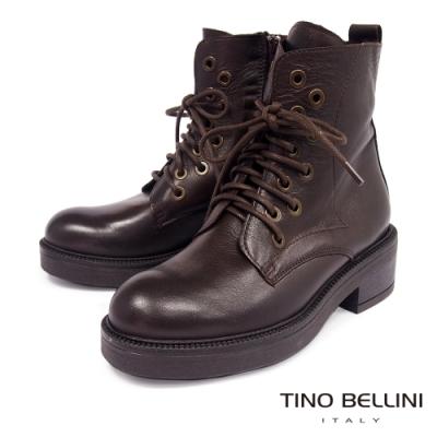 Tino Bellini義大利進口交錯鞋帶厚底中跟短靴_深咖