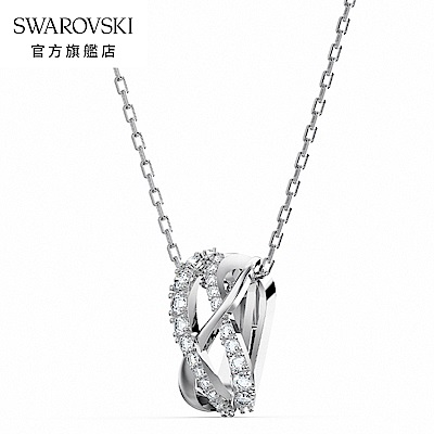 SWAROVSKI 施華洛世奇 Twist Rows 白金色流線造型白水晶項鍊
