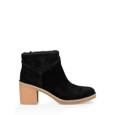 UGG短靴 Kasenz復古毛飾邊高跟短靴 全真皮羊毛粗跟短靴