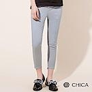 CHICA 淘氣女子中線剪裁扣環窄管褲(2色)