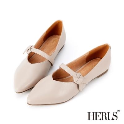 HERLS 內真皮打結瑪莉珍尖頭平底鞋-藕粉色