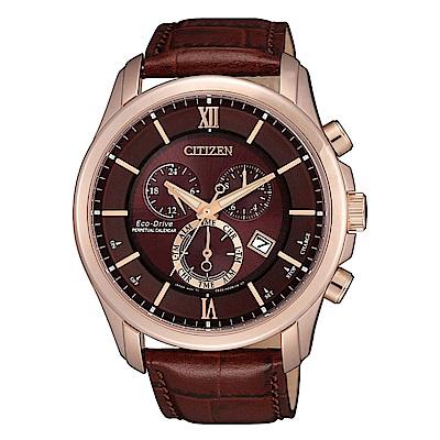 CITIZEN 星辰光動能三眼計時真皮手錶BL5548-19X-咖啡/43mm