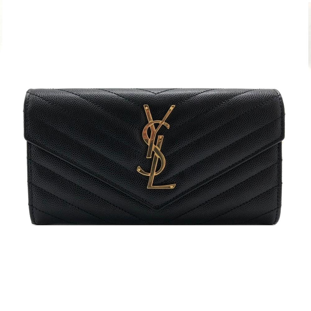 YSL Monogram V字縫線魚子醬牛皮金屬LOGO暗釦手拿長夾(372264-黑)