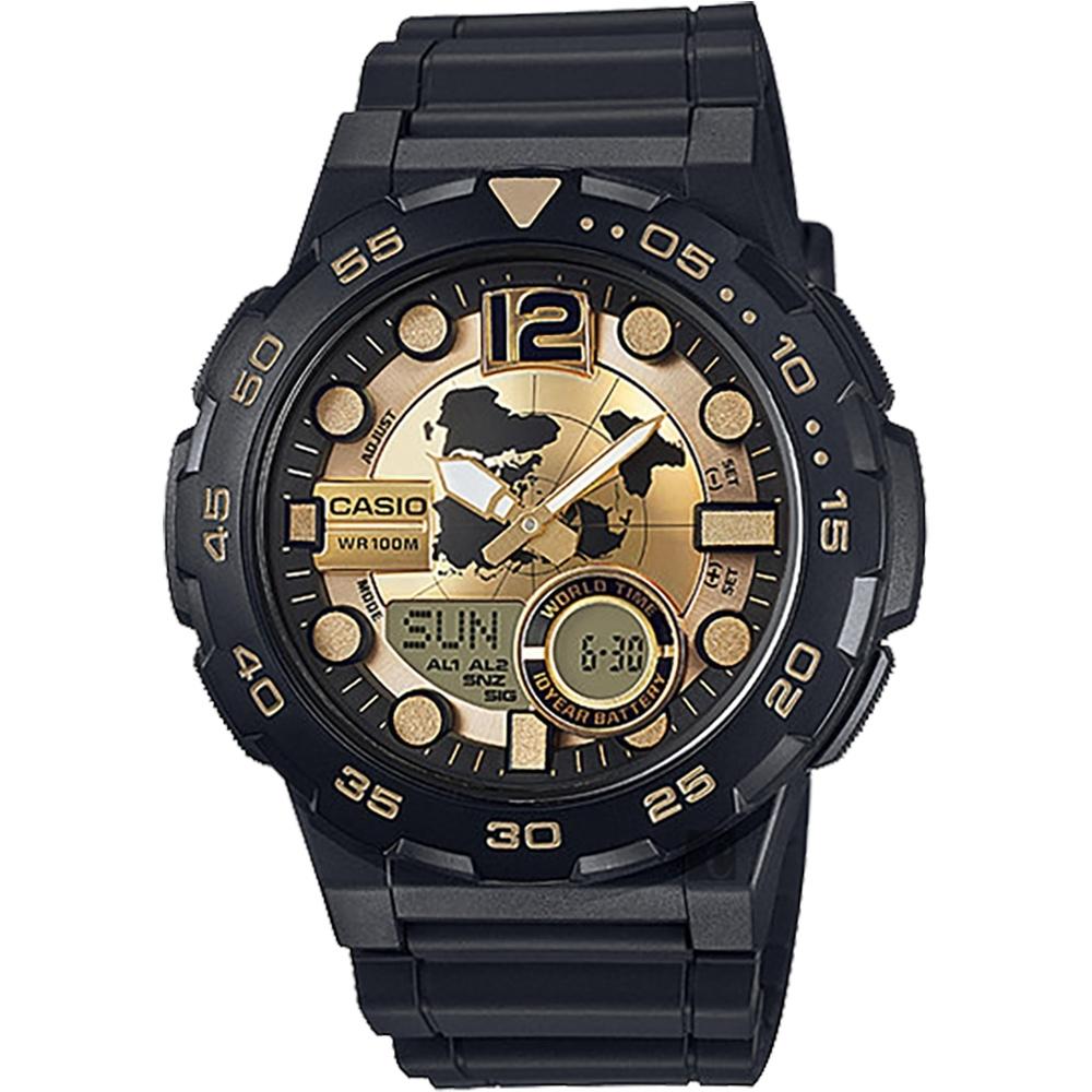 CASIO卡西歐 10年電力勁黑地圖錶-金x黑(AEQ-100BW-9A)