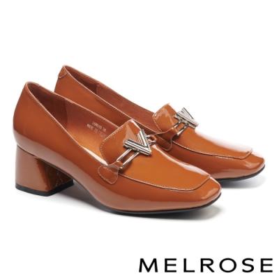 高跟鞋 MELROSE 時尚金屬飾釦方頭漆皮粗高跟鞋-咖
