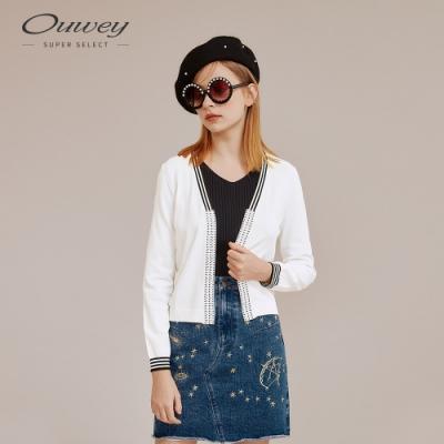 OUWEY歐薇 手工燙鑽開襟針織外套(白)