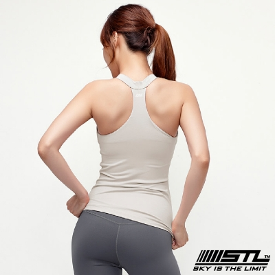 STL yoga Bra T SS Shirts Tint 韓國 運動機能訓練背心上衣(含胸墊)tint灰濛白