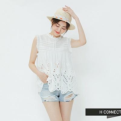 H:CONNECT 韓國品牌 女裝-繡花蕾絲無袖上衣-白