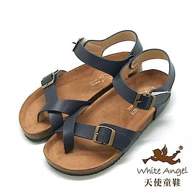 天使童鞋- 陽光羅馬氣墊夾腳親子涼鞋(超大童)J856-藍