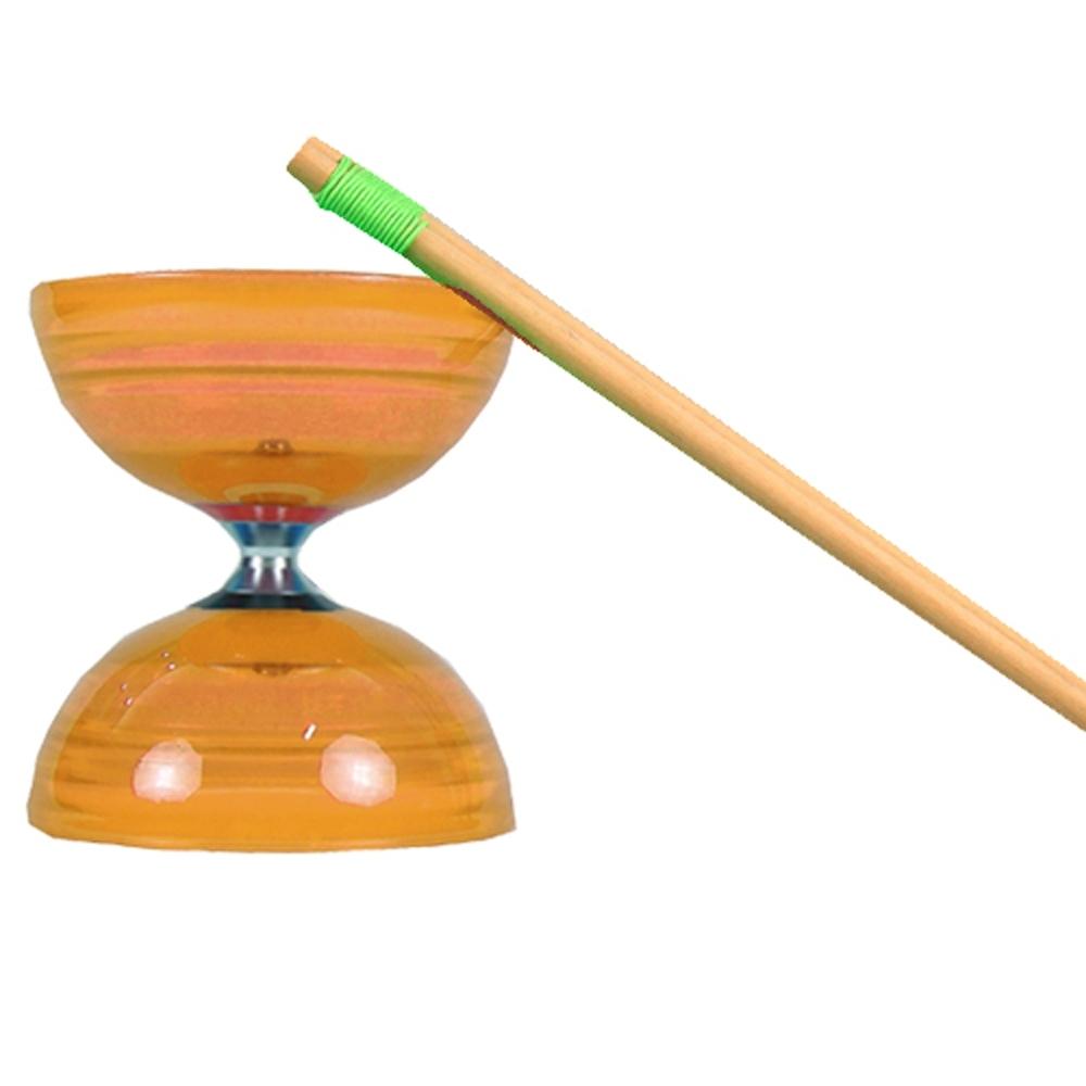 三鈴SUNDIA-台灣製造-炫風長軸三培鈴扯鈴(附木棍、扯鈴專用繩)橘色
